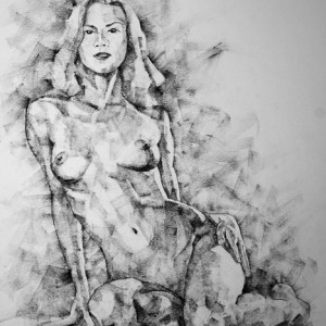 SketchBook Page 36 – Female Sitting Pose Drawing