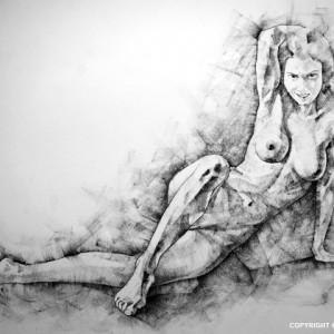 SketchBook Page 38 – Female Sitting Lateral Pose Drawing