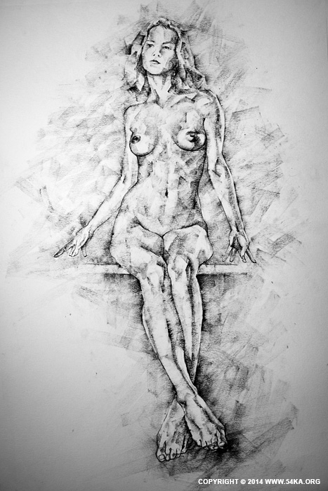 Page 39 01 by 54ka :: SketchBook Page 39 – Drawing Female Full Body Sitting Front Pose :: view all sketchbook  :: Figure Drawing Female Image charcoal Body Sketch study Pose pencil Human Body