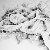 SketchBook Page 48 – Pose drawing lying female figure with hands raised