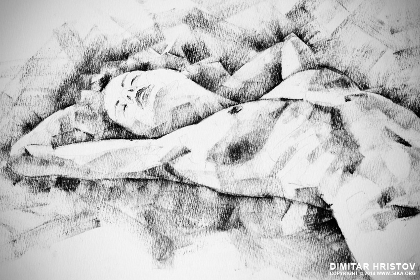 sketchbook page 47 pose drawing lying female figure with hands raised 02 by 54ka :: SketchBook Page 48 – Pose drawing lying female figure with hands raised :: view all sketchbook index top  :: Figure Drawing Female Image charcoal Body Sketch study Pose pencil Human Body