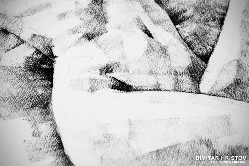 sketchbook page 47 pose drawing lying female figure with hands raised 04 by 54ka :: SketchBook Page 48 – Pose drawing lying female figure with hands raised :: view all sketchbook index top  :: Figure Drawing Female Image charcoal Body Sketch study Pose pencil Human Body