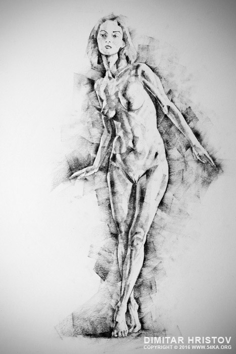 sketchbook page 56 girl stand up pose drawing 01 by 54ka :: SketchBook Page 56 – Girl stand up pose drawing :: view all sketchbook  :: Figure Drawing Female Image charcoal Body Sketch study Pose pencil Human Body