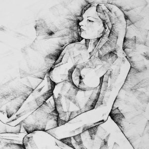 SketchBook Page 57 – Woman one side sitting pose drawing