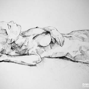 SketchBook Page 40 – Lying Girl Charcoal Drawing