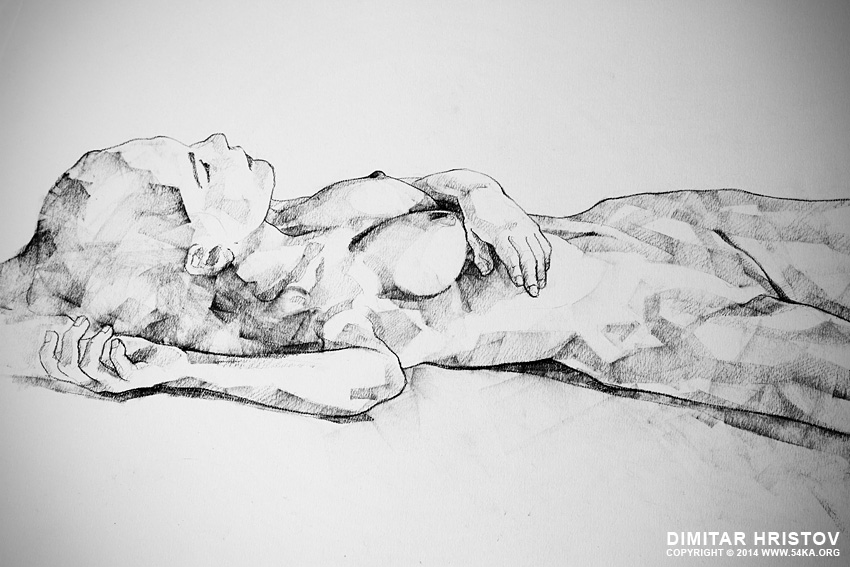 sketchbook page 40 lying girl charcoal drawing 02 by 54ka :: SketchBook Page 40   Lying Girl Charcoal Drawing :: view all sketchbook  :: Figure Drawing Female Image charcoal Body Sketch study Pose pencil Human Body