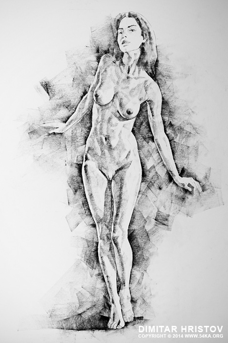 sketchbook page 4 live figure drawing model standing pose 01 by 54ka :: SketchBook Page 41 – Live Figure Drawing Model Standing Pose :: view all sketchbook  :: Figure Drawing Female Image charcoal Body Sketch study Pose pencil Human Body