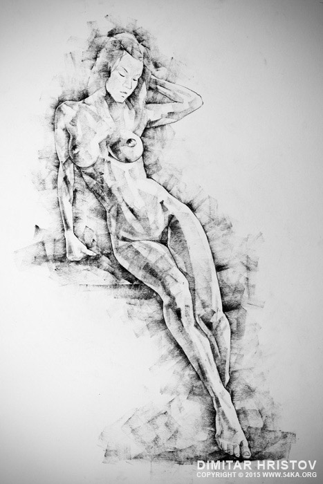 sketchbook page 54 beautiful slim young woman standing pose drawing 001 by 54ka :: SketchBook Page 54 – Beautiful slim young woman   standing pose drawing :: view all sketchbook  :: Figure Drawing Female Image charcoal Body Sketch study Pose pencil Human Body