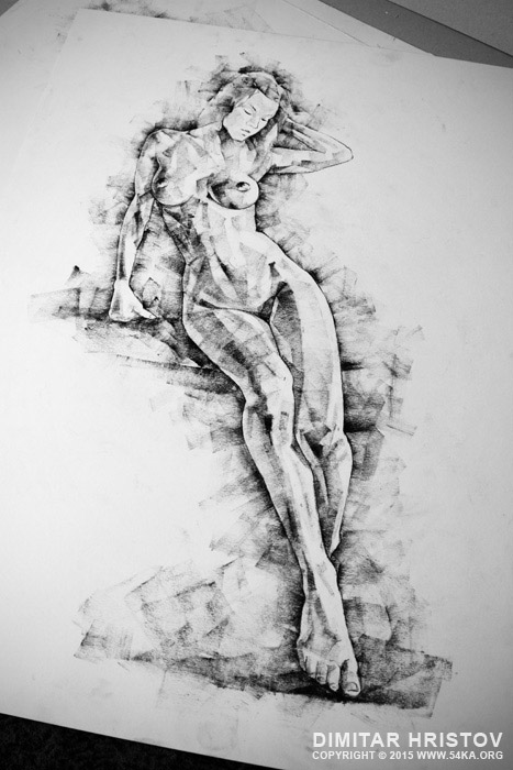 sketchbook page 54 beautiful slim young woman standing pose drawing 002 by 54ka :: SketchBook Page 54 – Beautiful slim young woman   standing pose drawing :: view all sketchbook  :: Figure Drawing Female Image charcoal Body Sketch study Pose pencil Human Body