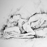 SketchBook Page 55 – Charcoal drawing woman lateral pose