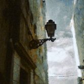 Old Street lamp with a stone brick wall – Painting