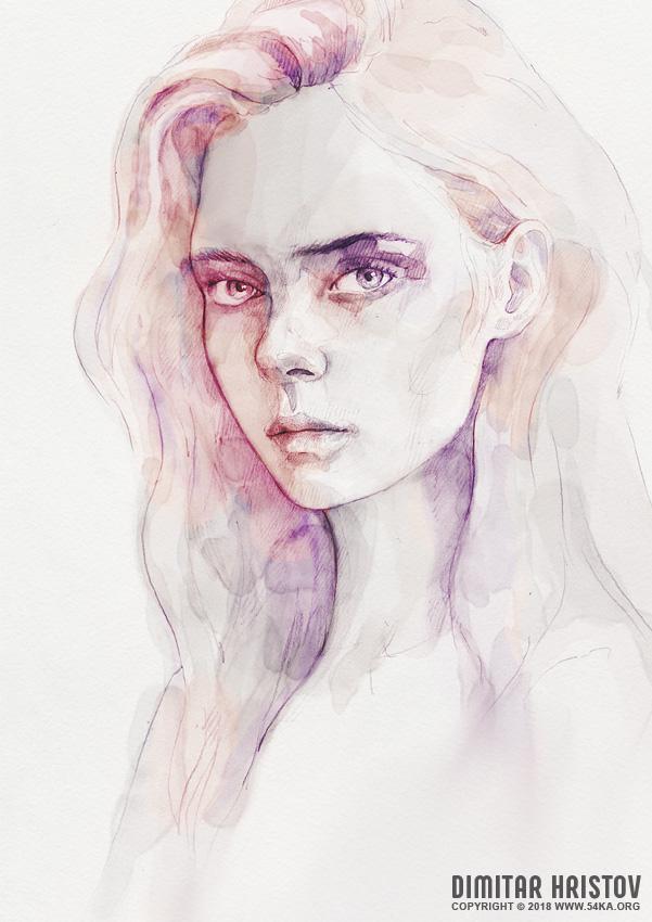 aquarelle portrait of a girl by 54ka :: Aquarelle portrait of a girl :: view all portrait featured expressive aquarelle  :: Figure Drawing Female Image charcoal Body Sketch study Pose pencil Human Body