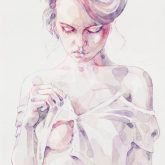 Aquarelle sensual portrait of a girl