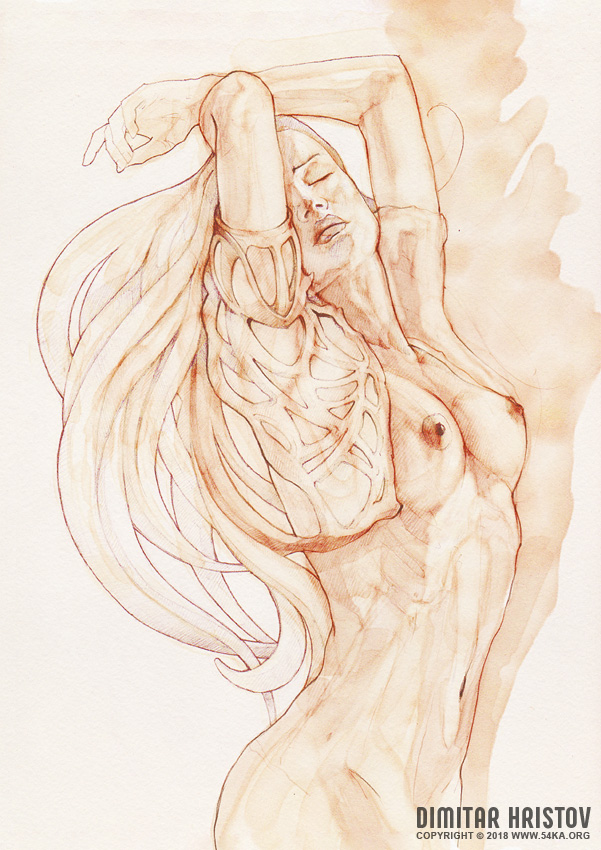 dancing woman aquarelle 001 by 54ka :: Dancing Woman   Aquarelle :: view all featured expressive aquarelle  :: Figure Drawing Female Image charcoal Body Sketch study Pose pencil Human Body