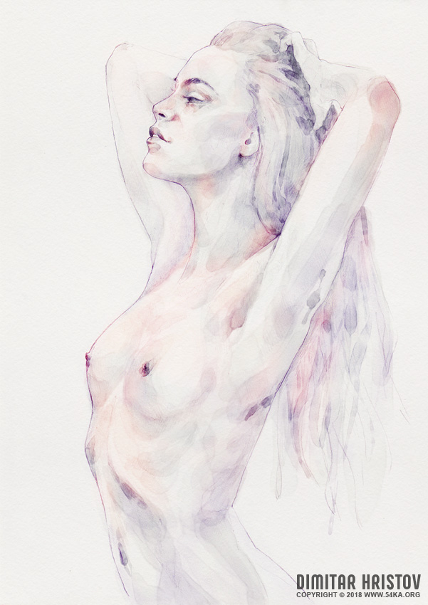 lovely classical pose girl portrait 002 by 54ka :: Lovely classical pose girl portrait :: view all portrait featured expressive aquarelle  :: Figure Drawing Female Image charcoal Body Sketch study Pose pencil Human Body