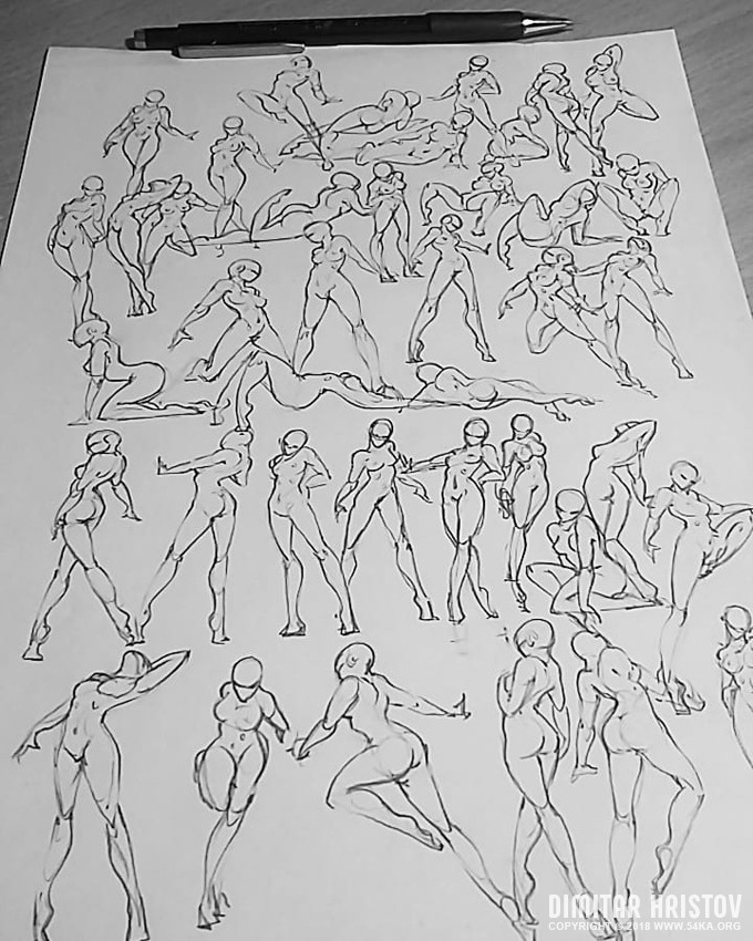 Sketchbook Pose Reference – 40 poses for 30 minutes - Figure