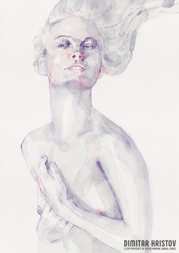 watercolour portrait of a beautiful girl 002 by 54ka :: Watercolour portrait of a beautiful girl :: view all featured expressive aquarelle  :: Figure Drawing Female Image charcoal Body Sketch study Pose pencil Human Body