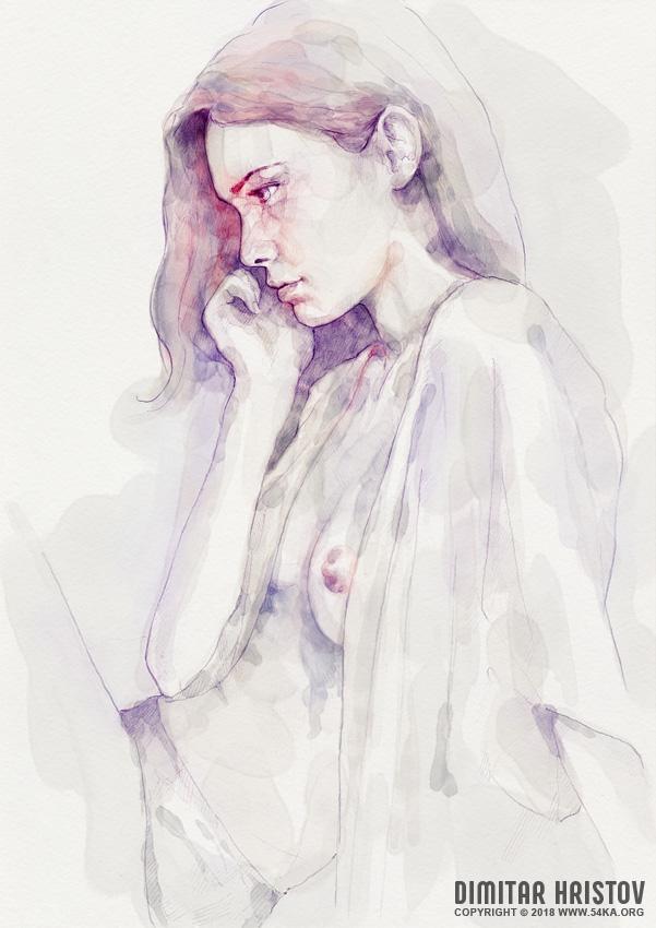 watercolour sensual portrait by 54ka :: Watercolour Sensual Portrait :: view all portrait featured expressive aquarelle  :: Figure Drawing Female Image charcoal Body Sketch study Pose pencil Human Body