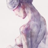 Back Side Watercolor Portrait of a Girl