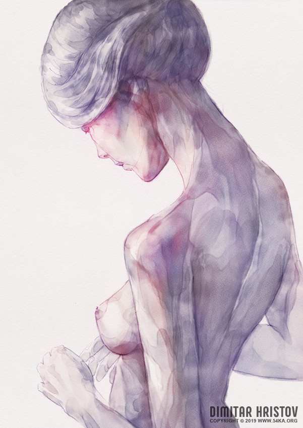 back side watercolor portrait of a girl by 54ka :: Back Side Watercolor Portrait of a Girl :: view all portrait featured expressive aquarelle  :: Figure Drawing Female Image charcoal Body Sketch study Pose pencil Human Body