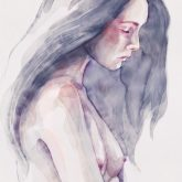 Watercolor abstract portrait of a girl