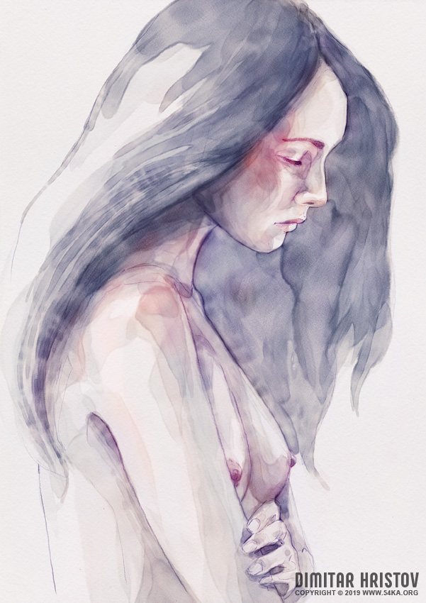 watercolor abstract portrait of a girl by 54ka :: Watercolor abstract portrait of a girl :: view all portrait illustration featured expressive aquarelle  :: Figure Drawing Female Image charcoal Body Sketch study Pose pencil Human Body