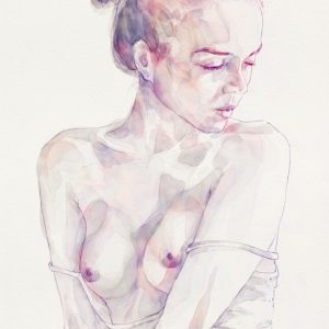 Watercolor portrait of young beautiful woman
