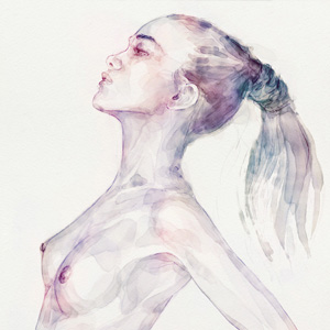 Sensual pose aquarelle portrait of a girl