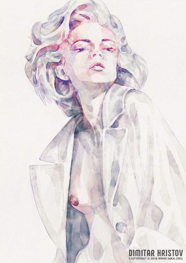 watercolor girl portrait by 54ka :: Watercolor Girl Portrait :: view all  :: Figure Drawing Female Image charcoal Body Sketch study Pose pencil Human Body