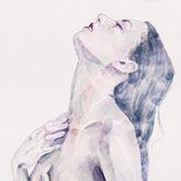 Watercolor Fashion – Woman with Long Hair Portrait