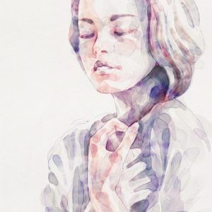 Young Woman Portrait – Abstract Watercolors Painting