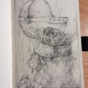 Baby Yoda sketch drawing