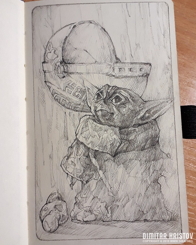 baby yoda sketch drawing by 54ka :: Baby Yoda sketch drawing :: view all sketchbook pencil art illustration featured fantasy art  :: Figure Drawing Female Image charcoal Body Sketch study Pose pencil Human Body