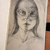 Sketchbook drawing of girl portrait