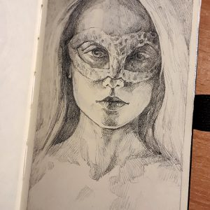Sketchbook drawing of girl portrait