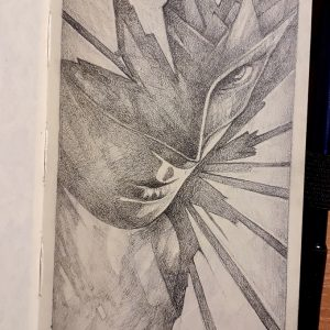 Superhero girl – Close up sketchbook drawing