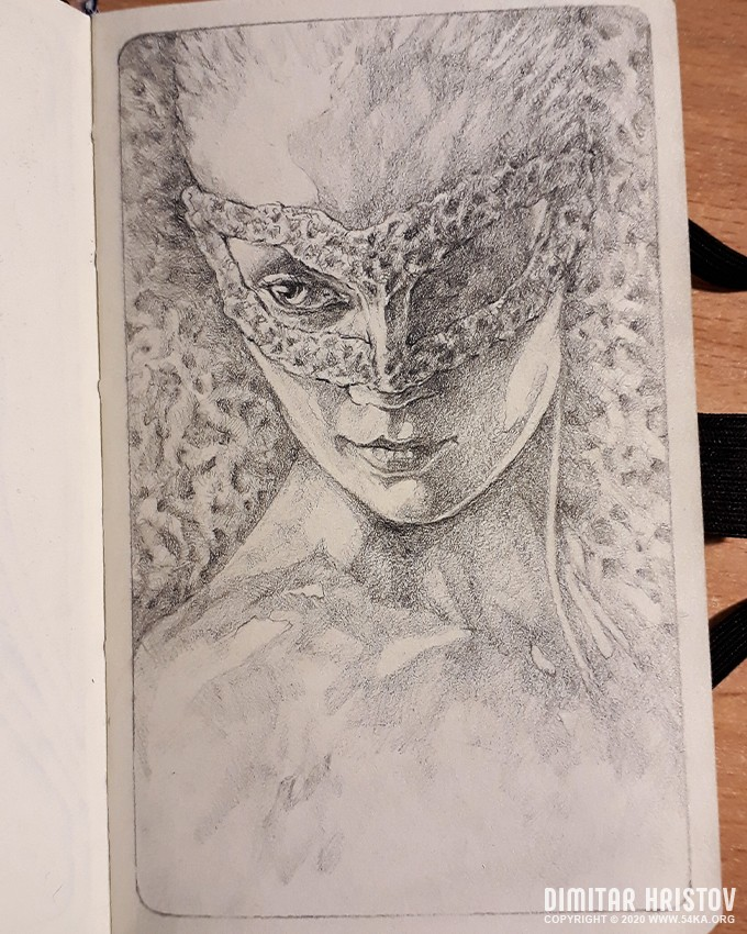 sketchbook drawing of girl with mask by 54ka :: Sketchbook drawing of girl with mask :: view all sketchbook portrait pencil art featured  :: Figure Drawing Female Image charcoal Body Sketch study Pose pencil Human Body