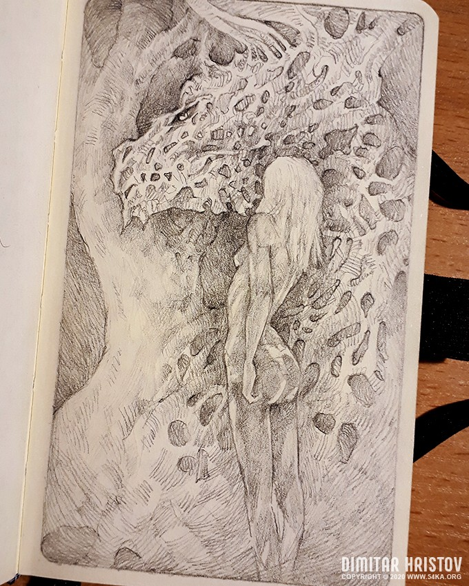 dragon and girl fantasy art sketchbook drawing by 54ka :: Dragon and girl   Fantasy art   Sketchbook drawing :: view all sketchbook pencil art fantasy art  :: Figure Drawing Female Image charcoal Body Sketch study Pose pencil Human Body