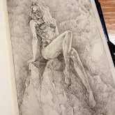 Girl on the Dragon rock – Fantasy art – Sketchbook drawing