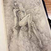 Girl on the Dragon rock – Fantasy art – Sketchbook drawing