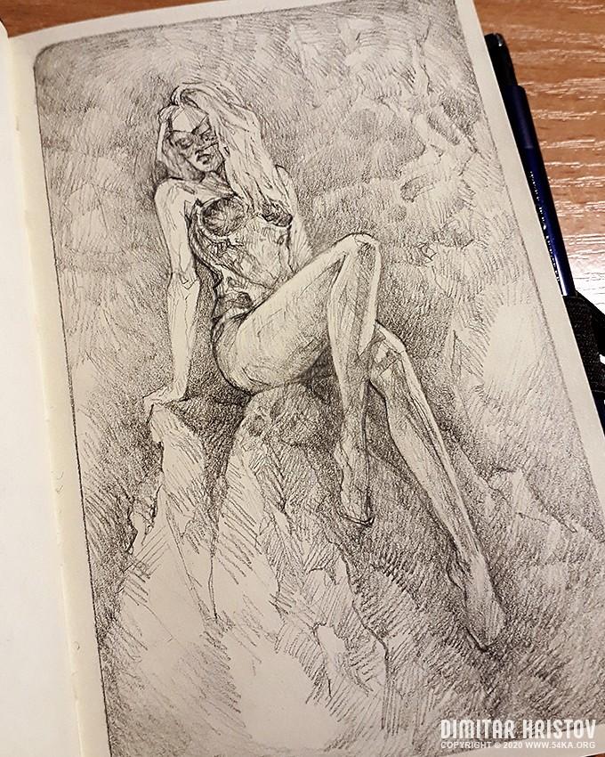 girl on the dragon rock fantasy art sketchbook drawing :: Girl on the Dragon rock   Fantasy art   Sketchbook drawing :: view all sketchbook pencil art fantasy art  :: Figure Drawing Female Image charcoal Body Sketch study Pose pencil Human Body