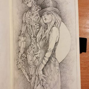 Girl and Robot – Sketchbook drawing