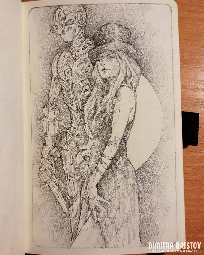 girl and robot sketchbook drawing by 54ka :: Girl and Robot   Sketchbook drawing :: view all sketchbook pencil art fantasy art  :: Figure Drawing Female Image charcoal Body Sketch study Pose pencil Human Body
