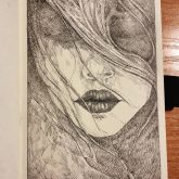 Long-haired girl portrait – Sketchbook drawing