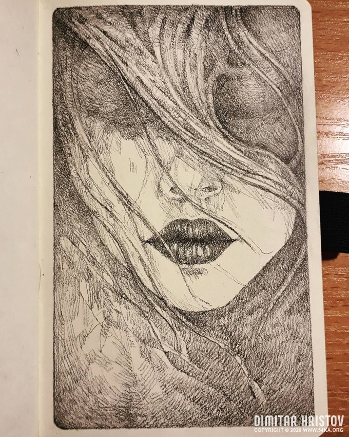 long haired girl portrait sketchbook drawing by 54ka :: Long haired girl portrait   Sketchbook drawing :: view all sketchbook pencil art featured  :: Figure Drawing Female Image charcoal Body Sketch study Pose pencil Human Body