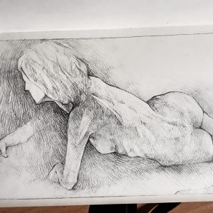 Lying model on one side – Pencil drawing