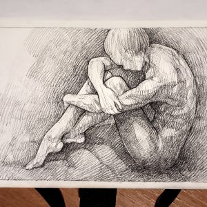 Sitting woman pose drawing – Sketchbook drawing