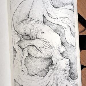Woman lying on the ground – Pencil drawing