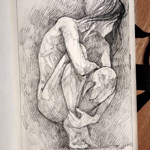 Squatted woman pose drawing – Sketchbook drawing