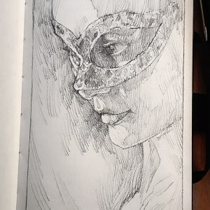 Girl with mask – Portrait – Sketchbook drawing